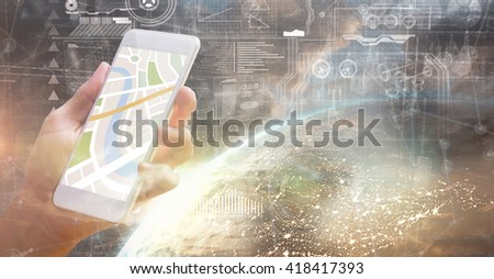 Man using map app on phone against image of a earth - stock photo
