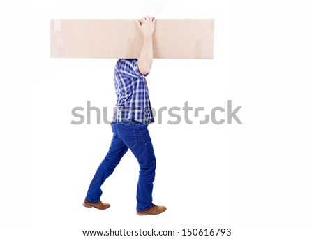 Man walking and carrying a cardbox isolated on white background - stock photo