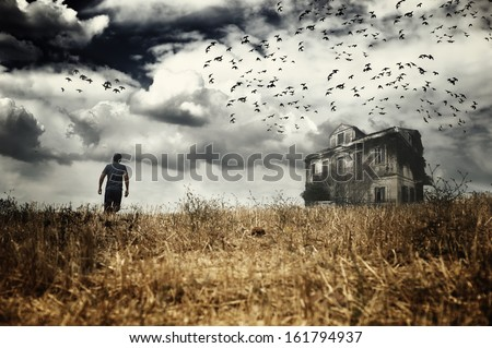 Man walking in a field towards a haunted house - stock photo