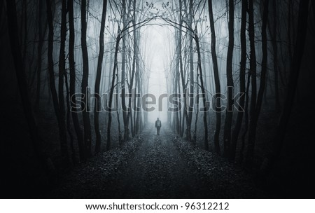 man walking on a path in a strange dark forest with fog - stock photo
