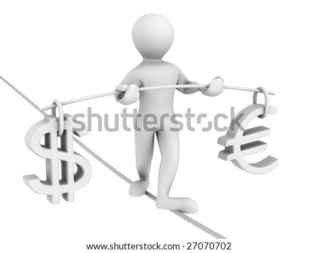 Man walking on a rope. Balance of dollar and euro. 3d - stock photo