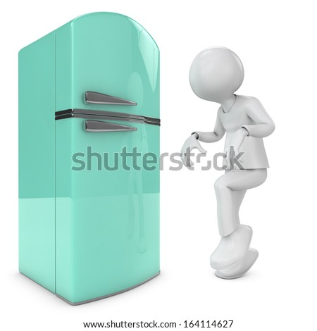 man walking quietly to the fridge. metaphor for diet, sleepwalking, gluttony. 3d image - stock photo