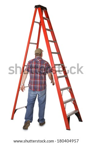 Man walking under a ladder - stock photo