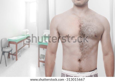Man waxing his chest to depilate hair half body at modern spa relax