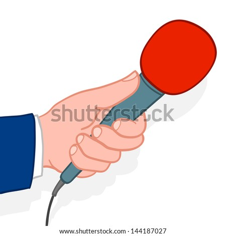Man wearing a suit holding out a microphone for a response during an interview conceptual of a compeer, reporter, journalist, talk show host or commentator, doodle illustration - stock photo