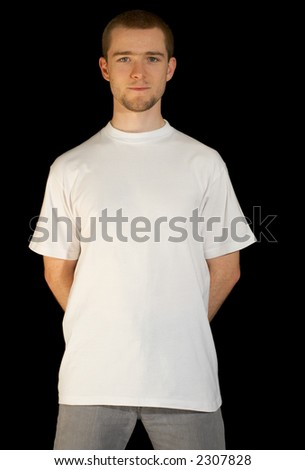 Man wearing a white template T-shirt (including clipping-path) - stock photo