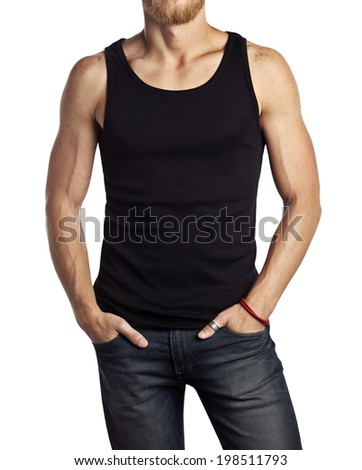 man wearing black vest isolated on white - stock photo
