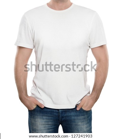 Man wearing blank t-shirt isolated on white background with copy space - stock photo