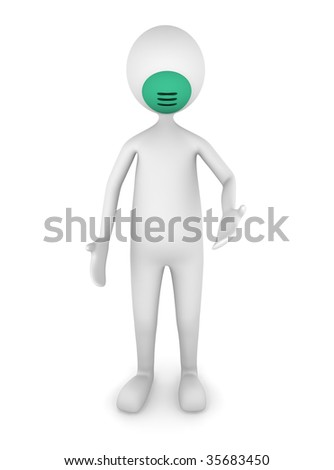 Man wearing flu mask - stock photo