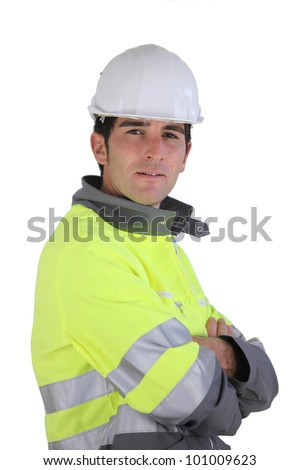 Man wearing high-visibility jacket - stock photo