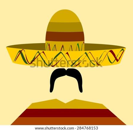 man wearing sombrero and poncho - stock photo