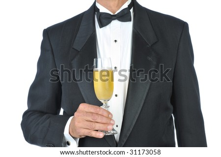 Man Wearing Tuxedo Holding Glass of Champagne Torso only isolated on White - stock photo