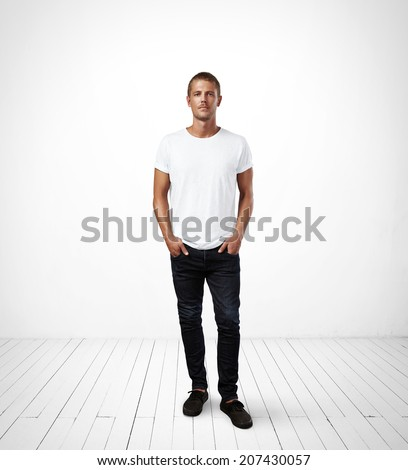 Man wearing white t-shirt - stock photo