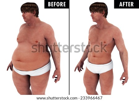 Man Weight Loss Body Transform before and after, A fat heavy man , and a strong fit man after he loosing the weight & fat before and after transformation - stock photo