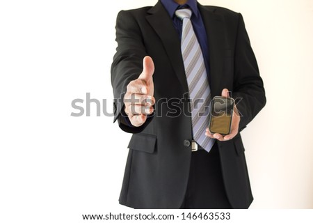 man welcoming his mobile telephony company - stock photo