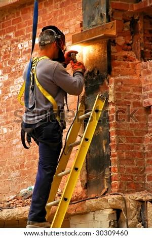 man welding - stock photo