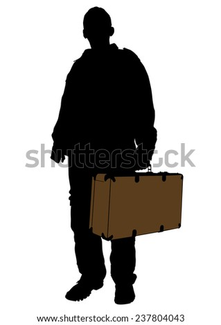 Man whit travel big suitcases on white background - stock photo