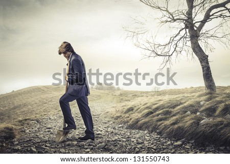 man who digs the grave - stock photo