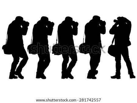 Man with a camera on white background - stock photo