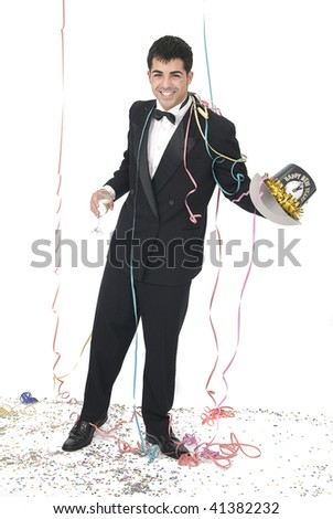 man with a champagne glass happy at a new year party - stock photo