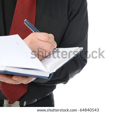 man with a documents. Isolated on white background - stock photo
