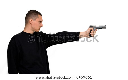 man with a gun - stock photo