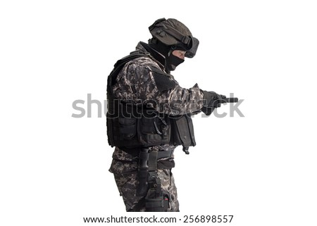 Man with a gun at firing range - stock photo
