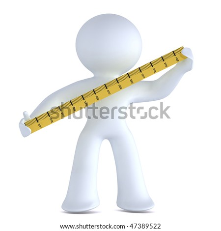 Man with a measurement tape - stock photo