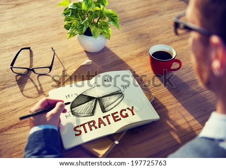 Man with a Note and Strategy Concept - stock photo