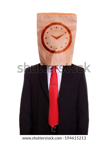 Man with a paper bag on head clock dial on it - stock photo