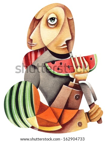 Man with a slice of watermelon - stock photo