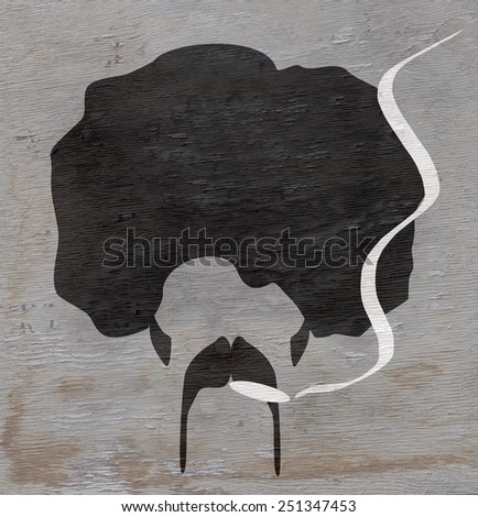 man with afro and smoking with wood grain texture - stock photo