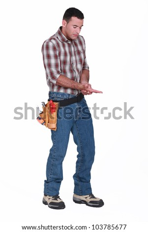 Man with an open wound - stock photo