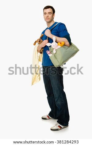 Man with baby supplies - stock photo