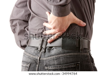 Man with back pain isolated - stock photo