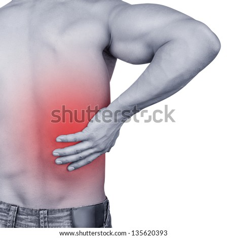 Man with backache isolated on white background - stock photo