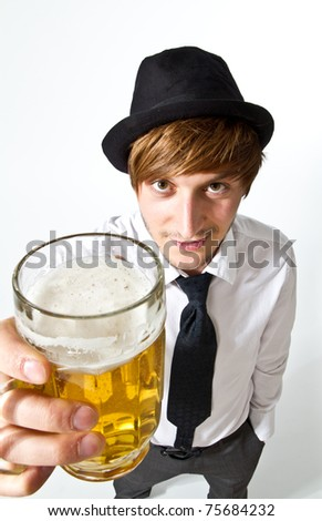man with beer - stock photo