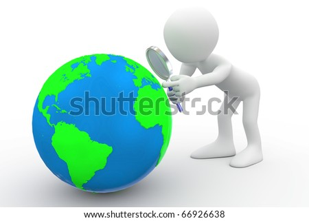 Man with big magnifying glass looking at Earth - stock photo