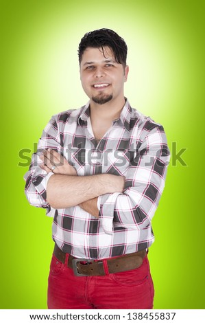 Man with big smile and crossed hands - stock photo