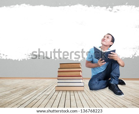 Man With Book Concept,Reading Imagination - stock photo
