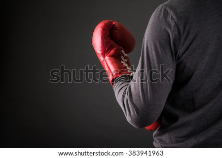 man with boxing gloves .Photo for magazine ,or design work - stock photo
