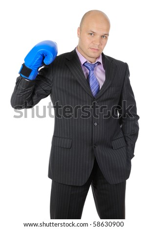 man with boxing gloves raised his hand. Isolated on white background - stock photo