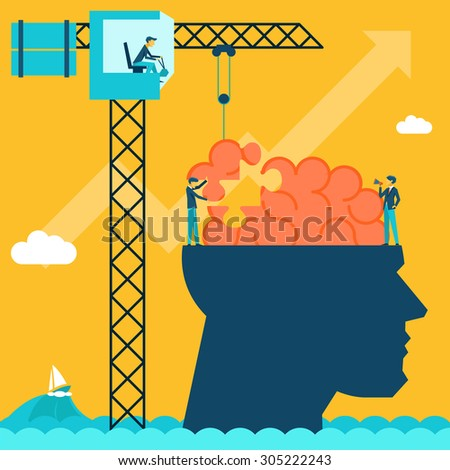 Man with brain puzzle. Creative concept background. Puzzle and create build, crane and head, businessman and conceptual, imagination - stock photo