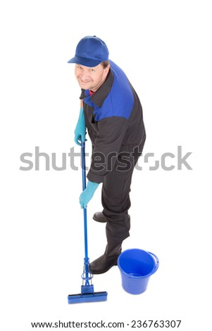 Man with bucket and blue mop. Isolated on a white background. - stock photo
