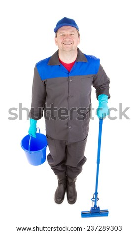 Man with bucket and mop. Isolated on a white background.  - stock photo