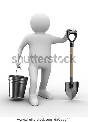 Man with bucket and shovel on white background. Isolated 3D image - stock photo