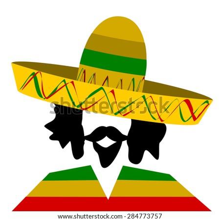 man with bushy hair and goatee wearing sombrero - stock photo