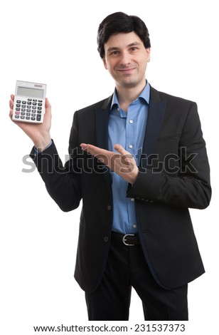 man with calculator - stock photo