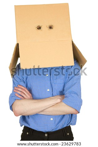 Man with cardboard box instead of head on white - stock photo