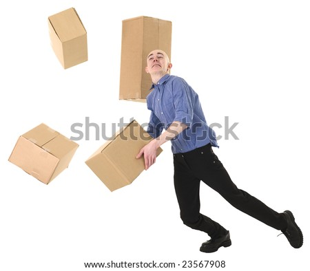 Man with cardboard is stumbled on a white - stock photo